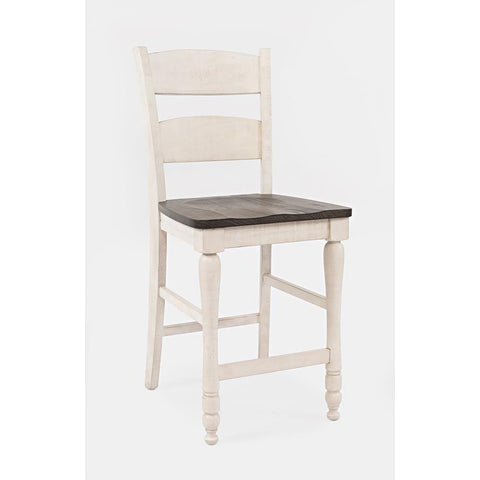 Jofran Madison County Ladderback Counter Stool in Vintage White