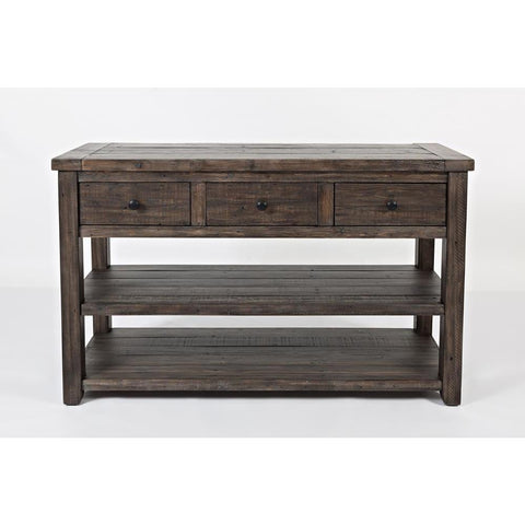 Jofran Madison County Sofa/Media Table in Barnwood