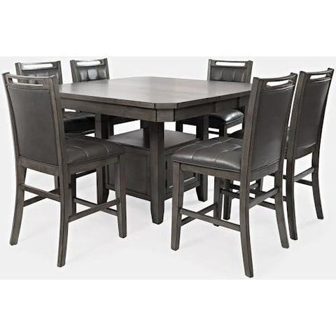 Jofran Manchester 7 Piece Square Counter Table Set w/Butterfly Leaf in Grey Wood