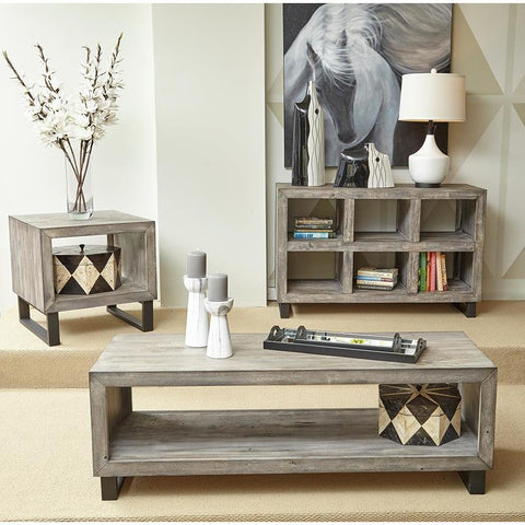 Jofran Mulholland 3 Piece Coffee Table Set in Distressed Grey