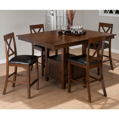 Jofran Olsen 5 Piece Counter Dining Room Set w/ Storage Base in Oak