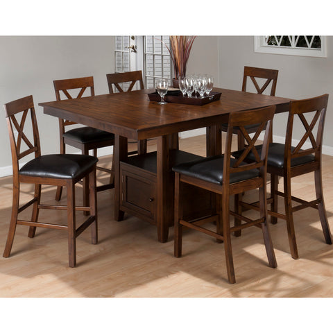 Jofran Olsen 7 Piece Counter Dining Room Set w/ Storage Base in Oak