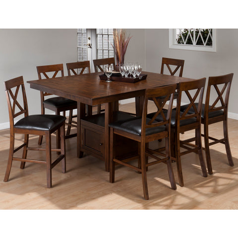 Jofran Olsen 9 Piece Counter Dining Room Set w/ Storage Base in Oak