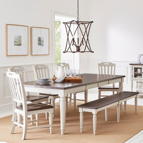 Jofran Orchard Park 8 Piece Rectangular Extension Dining Room Set w/Bench