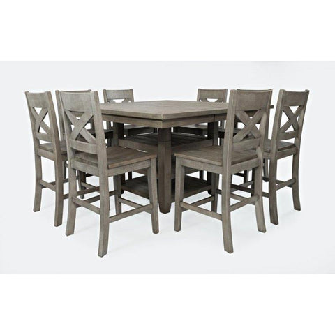 Jofran Outer Banks 9 Piece Hi/Low Square Storage Counter Table Set