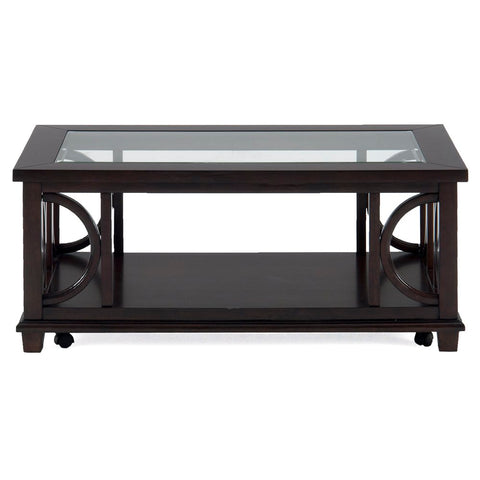 Jofran Panama Rectangle Cocktail Table w/ Shelf, Glass Insert & Casters
