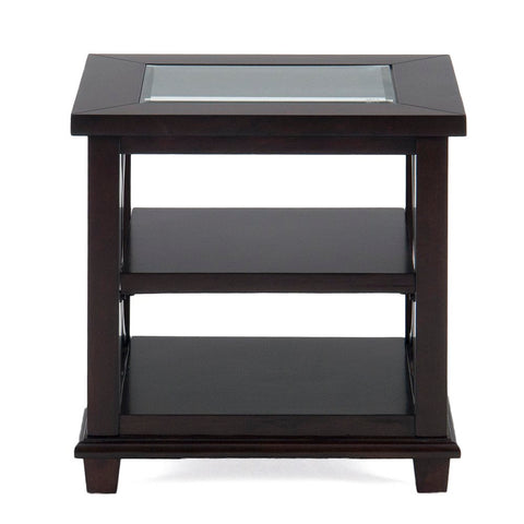 Jofran Panama Rectangle End Table w/ 2 Shelves & Glass Insert