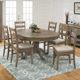 Jofran Reclaimed Pine Round To Oval Dining Table with Leaf