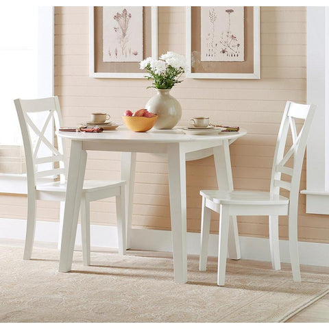 Jofran Simplicity 3 Piece Round Drop Leaf Dining Room Set in Paperwhite