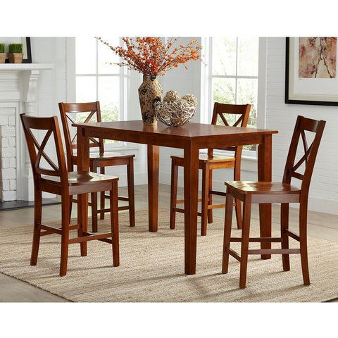 Jofran Simplicity 5 Piece Counter Height Table Set in Caramel