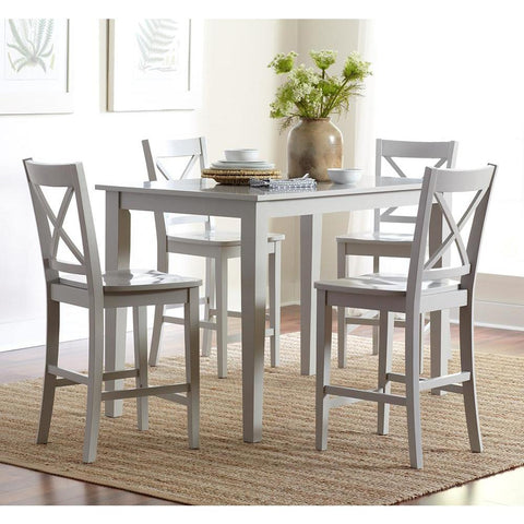 Jofran Simplicity 5 Piece Counter Height Table Set in Dove