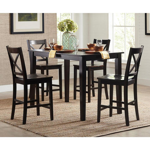 Jofran Simplicity 5 Piece Counter Height Table Set in Espresso