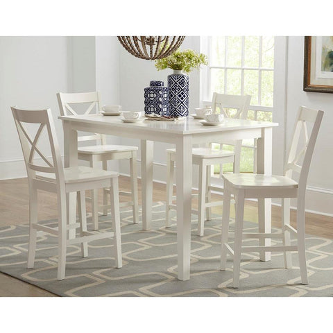 Jofran Simplicity 5 Piece Counter Height Table Set in Paperwhite
