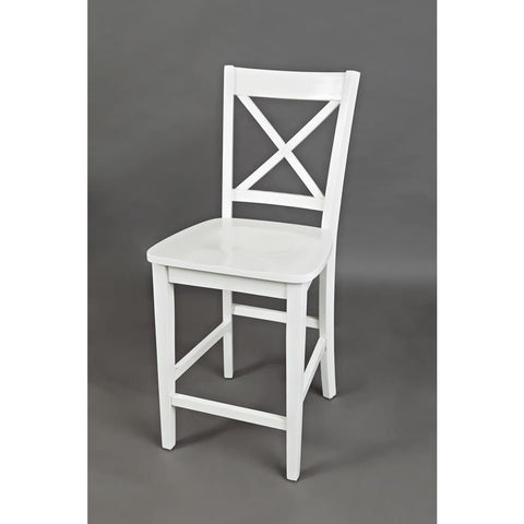 Jofran Simplicity X-Back Counter Height Stool in Paperwhite