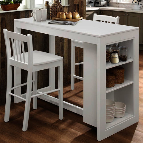 Jofran Tribeca 3 Piece Counter Height Table Set w/Shelving in Classic White