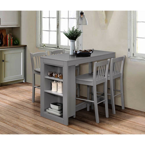 Jofran Tribeca 5 Piece Counter Height Table Set w/Shelving in Ash Grey