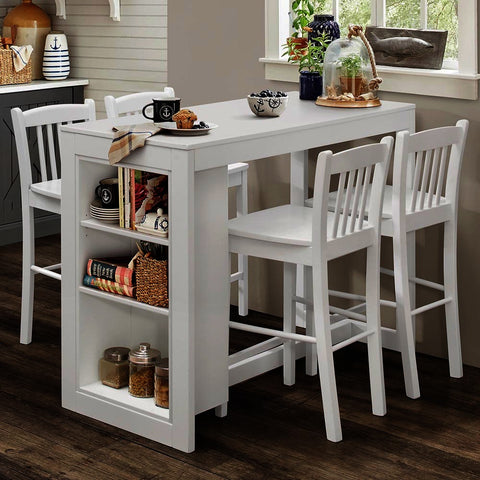 Jofran Tribeca 5 Piece Counter Height Table Set w/Shelving in Classic White