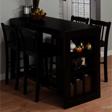 Jofran Tribeca 5 Piece Counter Height Table Set w/Shelving in Merlot