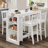 Jofran Tribeca Counter Height Dining Table w/Shelving in Classic White