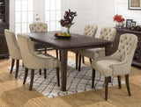 Jofran Wire Brushed Dining Table With Take Out Leaf And Dentil Moulding Along Apron