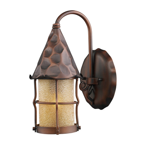 Landmark Lighting 381-AC Rustica 1-Light Outdoor Sconce in Antique Copper w/ Amber Scavo Glass