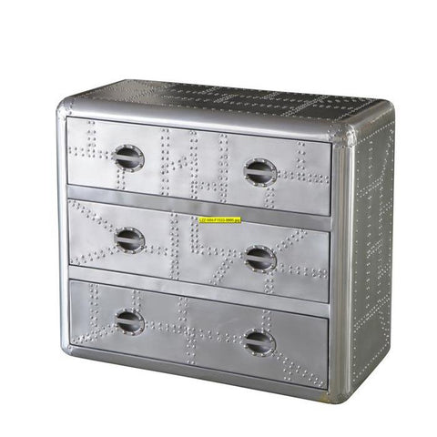 Lazzaro Ace Leather Chest of Drawers in Silver