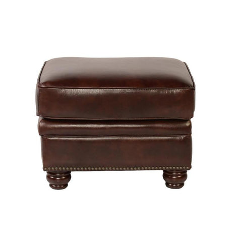 Lazzaro Appalachian Leather Ottoman in Rustic Savauge