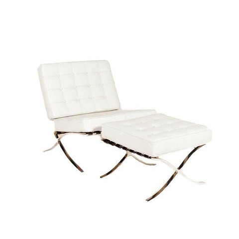 Lazzaro Beldon Chair-Ottoman Set in White