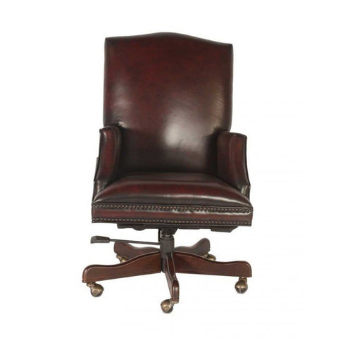 Lazzaro Fuller Leather Office Chair in Black & Red