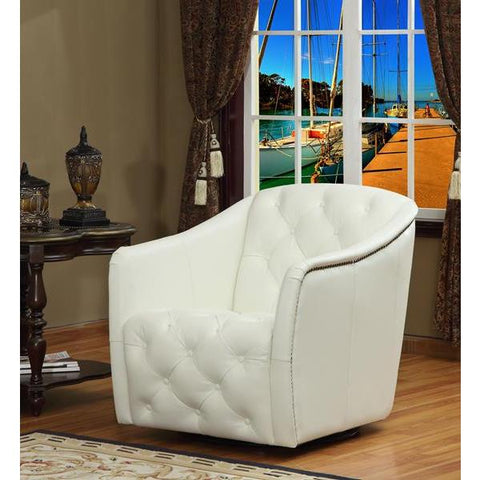 Lazzaro Hollywood Tufted Swivel Tub Chair in White