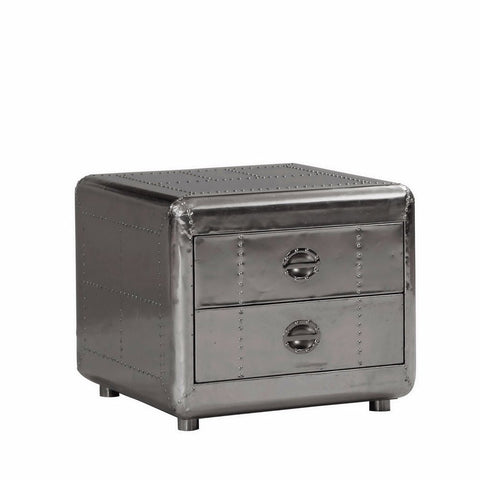 Lazzaro Lindbergh Leather Bomber End Table in Aluminium
