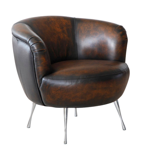 Lazzaro Modena Leather Chair in Black & Tan