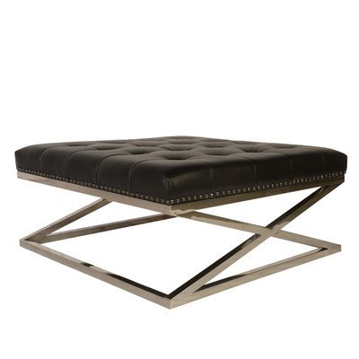 Lazzaro Peyton Leather Stainless Base Tufted Cocktail in Black