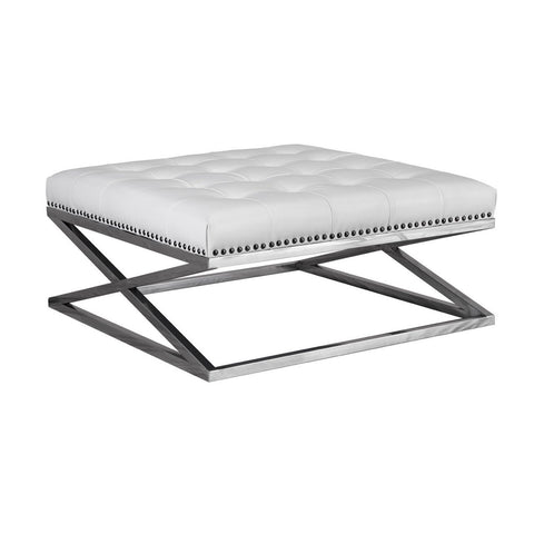 Lazzaro Peyton Leather Stainless Base Tufted Cocktail in White