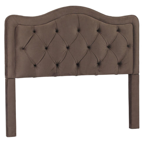 Leffler Allure Button Tufted Queen Headboard in Night Party Chocolate