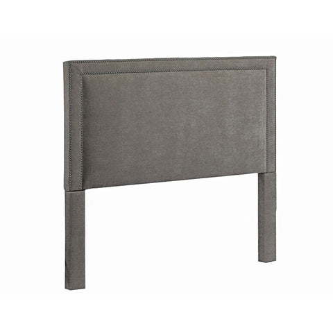 Leffler Brookside Nailhead Headboard in Avigon Charcoal-Pearl Grey Nailhead
