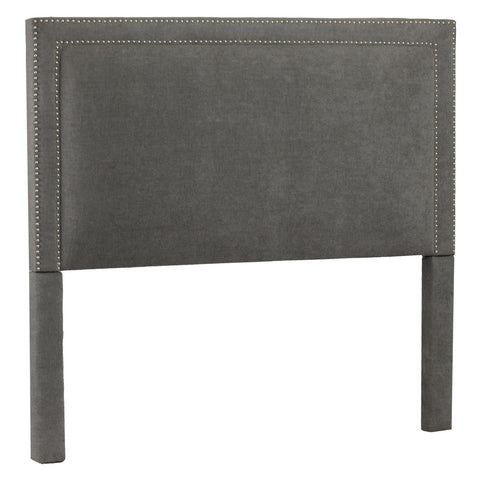 Leffler Brookside Nailhead Headboard in Avigon Charcoal Silver Nailhead