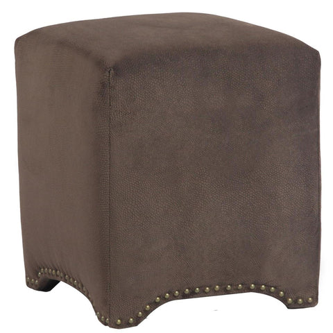Leffler Emma Cube Upholstered Nailhead Ottoman in Night Party Chocolate
