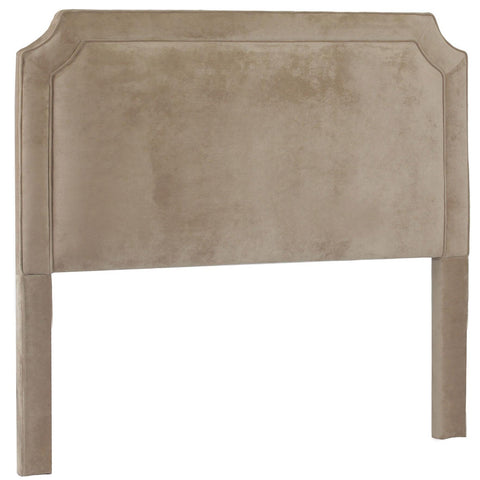 Leffler Manor Upholstered Belgrave Shape with Welting Headboard in Donna Coffee