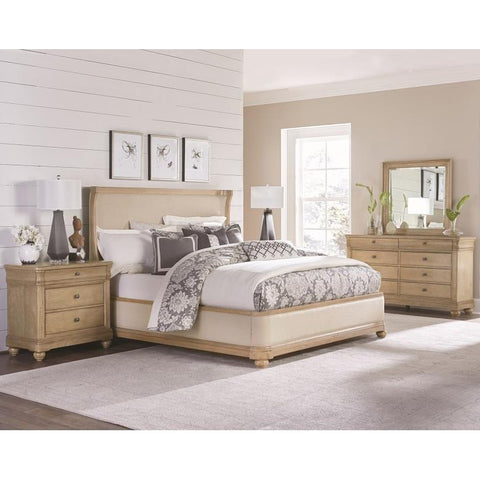 Legacy Ashby Woods 4 Piece Upholstered Shelter Bedroom Set in Aged Birch