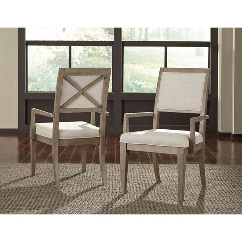 Legacy Bridgewater Upholstered Arm Chair in Weathered Oak