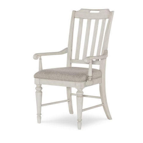 Legacy Brookhaven Slat Back Arm Chair in Vintage Linen & Rustic Dark Elm