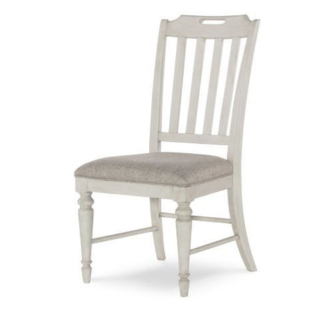 Legacy Brookhaven Slat Back Side Chair in Vintage Linen & Rustic Dark Elm