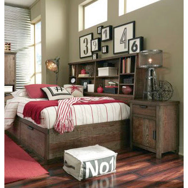 Legacy Fulton County 2 Piece Bookcase Lounge Bedroom Set in Tawny Brown