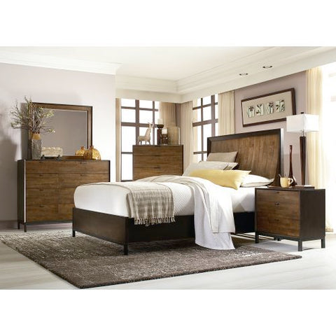 Legacy Kateri Five Piece Curved Panel Bedroom Set In Hazelnut And Ebony