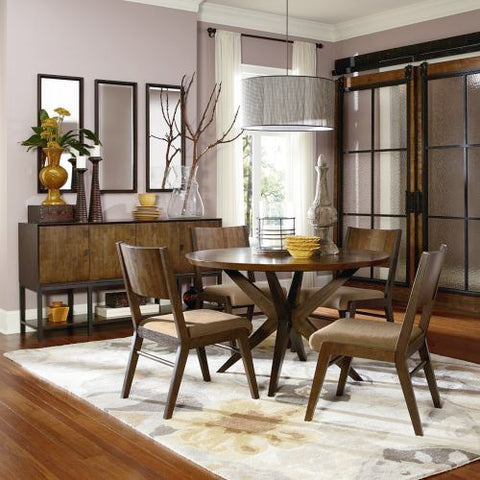 Legacy Kateri Round Slat Upholstered Dining Set In Hazelnut And Ebony