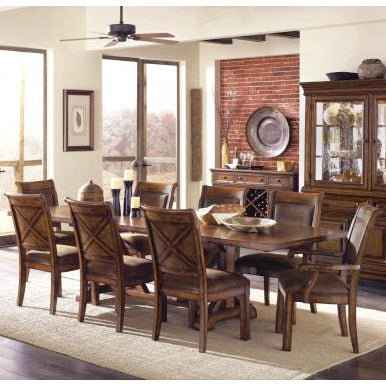 Legacy Larkspur 10 Piece Extension Trestle Dining Room Set in Burnished Caramel