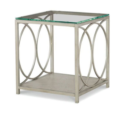 Legacy Rachael Ray Cinema Glass Top End Table in Shadow Grey