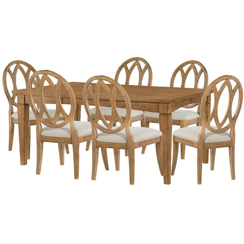 Legacy Rachael Ray Everyday 7 Piece Gathering Rectangular to Square Leg Dining Room Set in Nutmeg