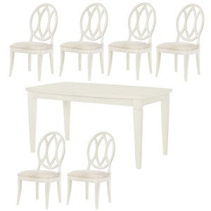 Legacy Rachael Ray Everyday 7 Piece Gathering Rectangular to Square Leg Dining Room Set w/Oval Back Chais in Sea Salt